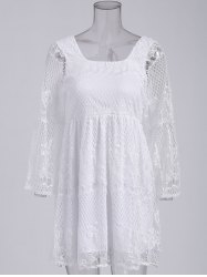 Ladylike Square Neck Flare Sleeve Hollow Out White High Waist Dress For Women -