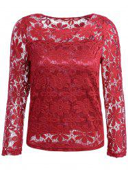 Fashionable Round Neck Lace Crochet Flowers Long Sleeve Women's T-Shirt -