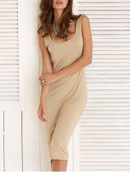 Bodycon Sleeveless U-Neck Solid Color Dress -