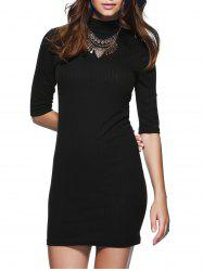 Round Neck 1/2 Sleeve Skinny Sweater Dress - BLACK