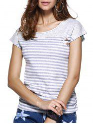 Striped Short Sleeve Jewel Neck T-Shirt
