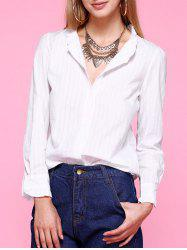 Flounced Collar Striped Formal Shirt