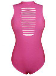 Round Neck Cut Put Pure Color One Piece Swimwear