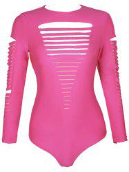 Long Sleeve Round Neck Cut Put Pure Color One Piece Swimwear