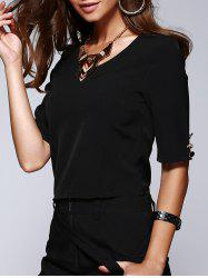 V-Neck Half Sleeve Buttoned Drop Belt Design T-Shirt -