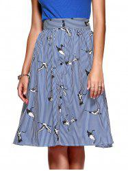 Button Fly Swan Print Women's Midi Skirt -