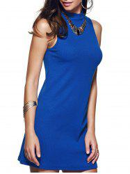 Blue Sleeveless Round Neck Dress
