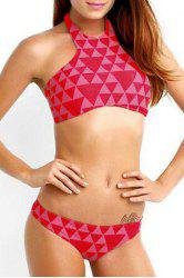 High Neck Halter Geometrical Print Bikini Set