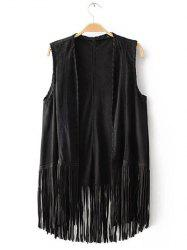 Charming Collarless Fringed Solid Color Women's Waistcoat -