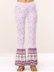 Elastic Waist Floral Bell Bottom Stretchy Pants