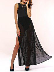 Cut Out High Slit Sheer Maxi Prom Dress -