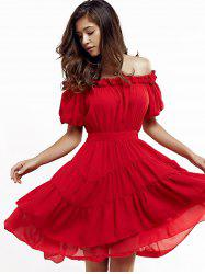 Short Off The Shoulder Puff Sleeve Tiered Dress - RED