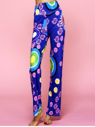 High Waisted Hit Color Ethic Print Pants -