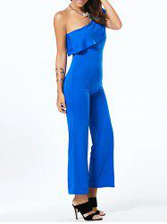 One Shoulder Flounce Pure Color Jumpsuit -