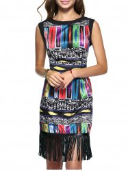 Ethnic Women's Geometric Fringed Dress