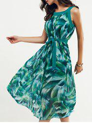 Scoop Neck Feather Print Belted Dress - JADE GREEN