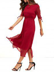 Keyhole Neckline Slit Midi Dress