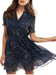 V-Neck Polka Dot Drawstring Dress -