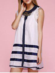 Flat Collar Stripe  Frilly Sheer Smock Dress