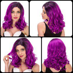 Sparkling Medium Wavy Side Parting Black Mixed Bright Purple Cosplay Lolita Synthetic Wig For Women