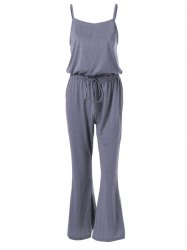 Casual Spaghetti Strap Drawstring Solid Color Jumpsuit For Women -