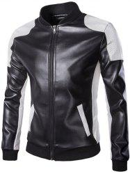 Color Block PU Leather Zippered Stand Collar Jacket For Men