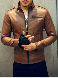 Fashionable Stand Collar Zipper Embellished Leather Jacket For Men -