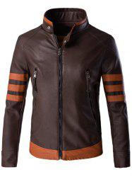 Stripe Spliced ​​Zippered Faux Leather Jacket For Men - Café
