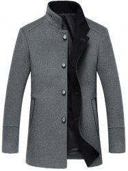 Elegant Stand Collar Single Breasted Slim Fit Wool Overcoat For Men - GRAY