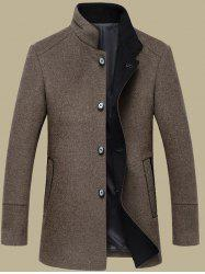 Elegant Stand Collar Single Breasted Slim Fit Wool Overcoat For Men