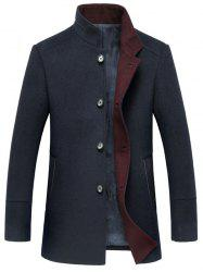 Elegant Stand Collar Single Breasted Slim Fit Wool Overcoat For Men - CADETBLUE