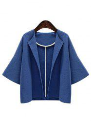 Pure Color de Bell Veste Manches Loose Women Casual  's - Bleu L