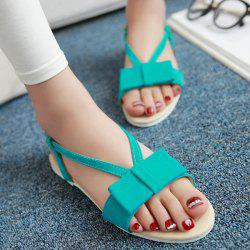 Leisure Bow and Flat Heel Design Sandals For Women - LAKE GREEN 39