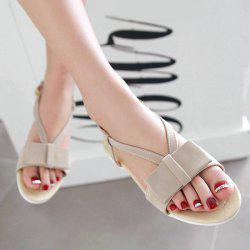 Leisure Bow and Flat Heel Design Sandals For Women - APRICOT