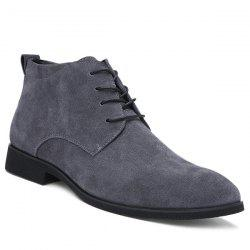 Stylish Suede and Tie Up Design Casual Shoes For Men - GRAY