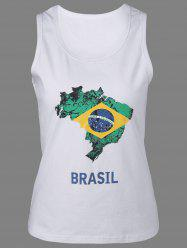 Scoop Neck Brazil Print Graphic Tank Top - WHITE XL