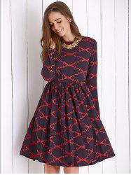Vintage Long Sleeve Rhombus Printed Women's Dress