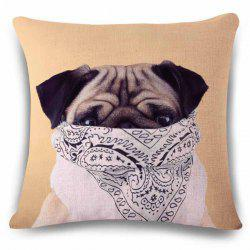 Sweet Flax Square Animal Puppy with Scarf Pattern Pillow Case -