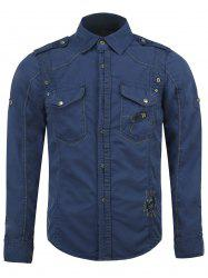 Cotton Blends Embroidered Pockets Turn-Down Collar Shirt -