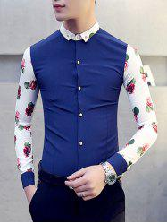 Turn-Down Collar 3D Rose Print Button-Down Long Sleeve Shirt For Men