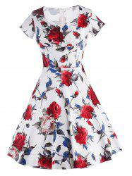 Knee Length Floral Flare Pin Up Dress - RED