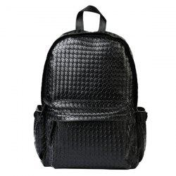 Fashion Weaving and Black Design Backpack For Men - BLACK