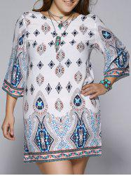 Plus Size Ethnic Print Open Back Shift Dress - COLORMIX
