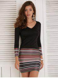 Long Sleeve Striped Short Fitted Tight Dress - BLACK