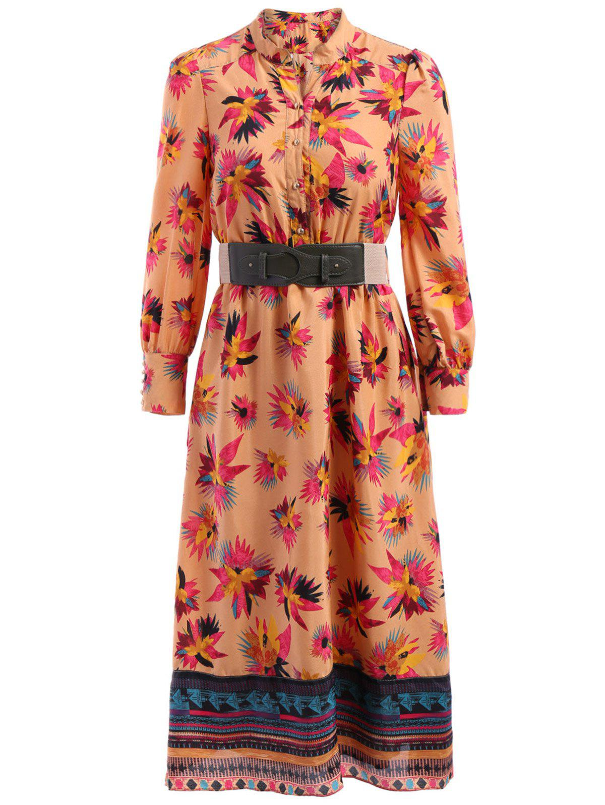 Affordable Bohemian Stand-Up Collar Long Sleeve Printed Belted Dress For Women