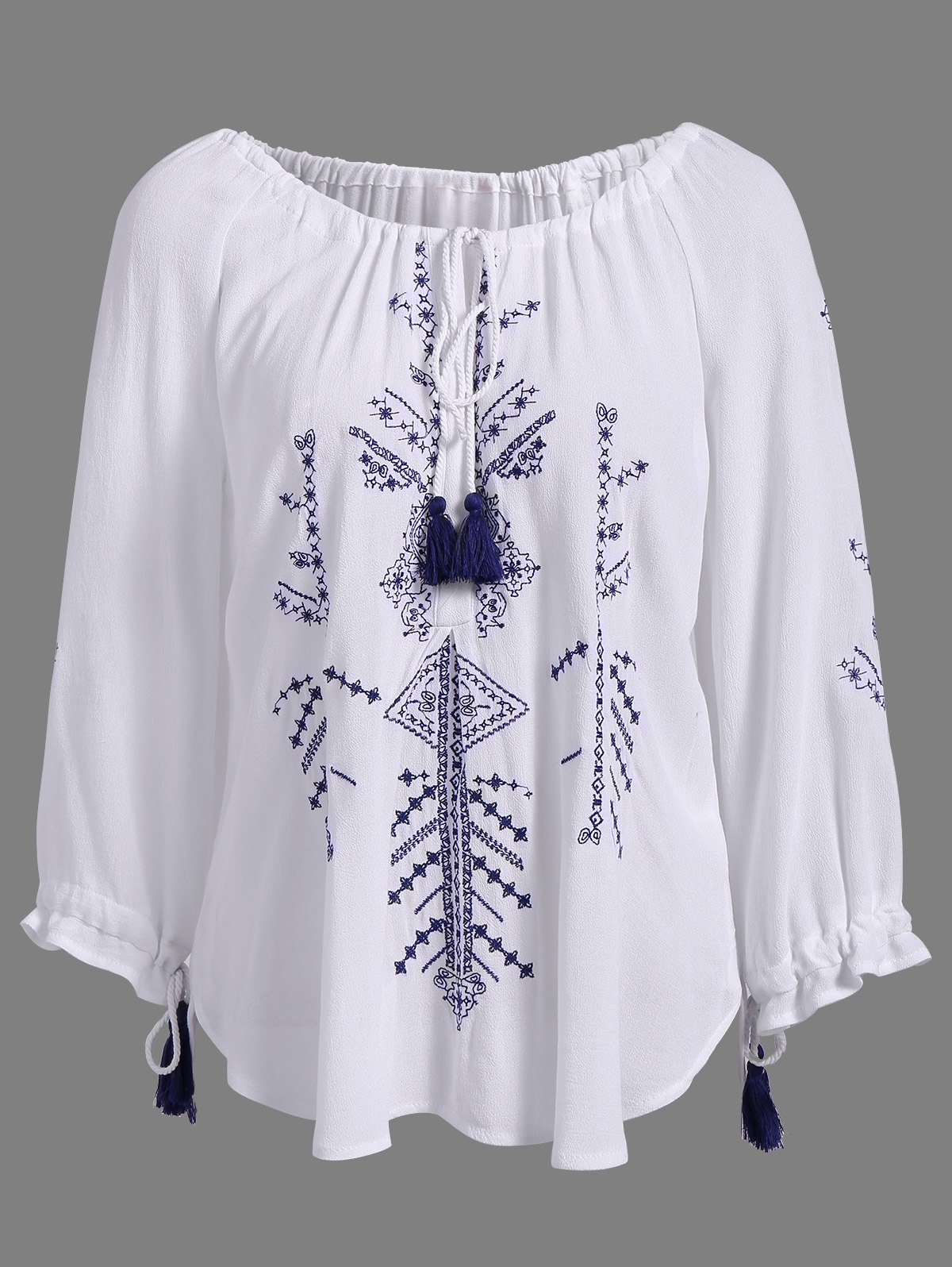 Best Stylish Round Neck 3/4 Sleeve Embroidered Lace-Up Blouse For Women