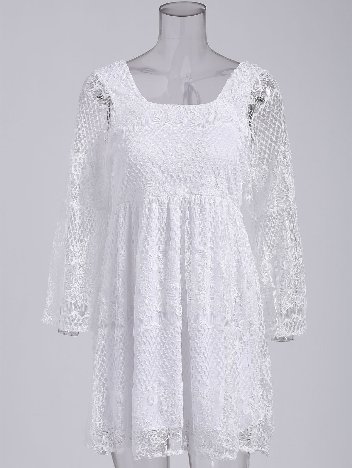 Affordable Ladylike Square Neck Flare Sleeve Hollow Out White High Waist Dress For Women