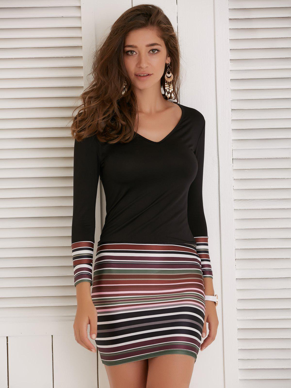 Discount Long Sleeve Striped Short Fitted Tight Dress
