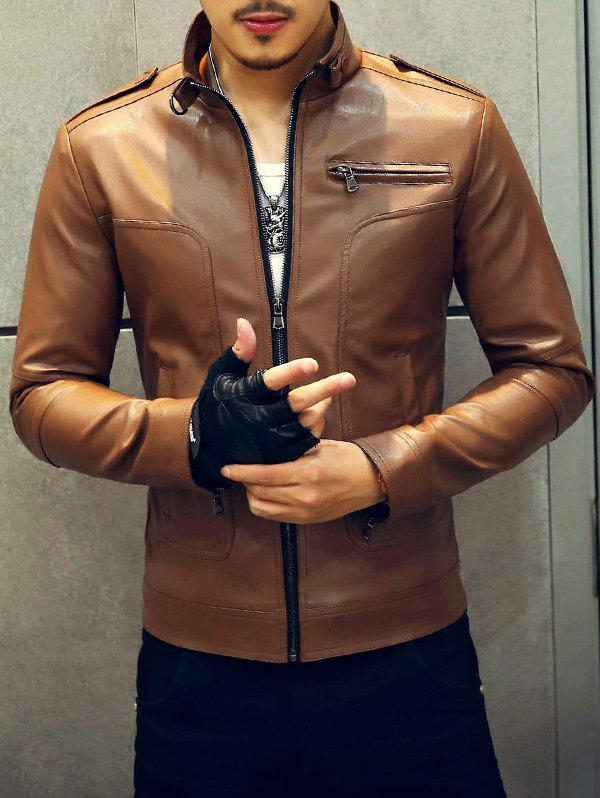 Outfit Fashionable Stand Collar Zipper Embellished Leather Jacket For Men