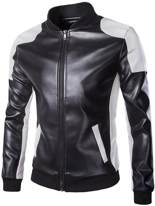 New Color Block PU Leather Zippered Stand Collar Jacket For Men